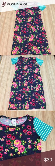 """floral t-shirt dress New without tags. Floral print dress with striped short sleeves. 15.5"""" flat across bust, 33"""" length. First photo is not exact.  ▪️no trades ▪️offer button only please Dresses"""