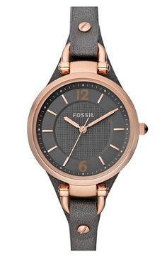 Fossil Ladies' Round Dial Leather Strap Watch available at #Nordstrom