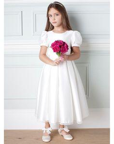 91817b7af3f6 Maniche Corte Fiocco Abito Da Cerimonia Bambina Bianco in Ventita Online  Womens Fashion Stores