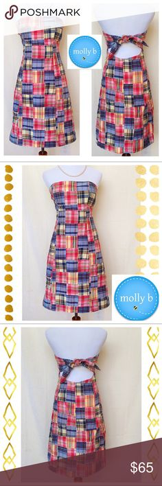 Molly B. Martha's Vineyard Madras Dress Size 10 Molly B. Martha's Vineyard Madras Dress Size 10 , Strapless Adorable 100% Silk. But for my cousins wedding in Edgartown zips and ties in the back it has boning in the breasts once you get yourself tied in your good to go please ask questions this was a really expensive dress. I'm just not a 10 anymore Molly B. Dresses Strapless