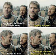Game of thrones season 7 funny humour meme, Jaime Lannister, Bronn. Bronn Game Of Thrones, Got Game Of Thrones, Game Of Thrones Quotes, Game Of Thrones Funny, Hbo Got, Game Of Thrones Instagram, The North Remembers, Got Memes, Films