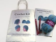 Crochet Kit for a Slouchy or Beanie Hat with Flower. Blues and Greens Yarn. Gift £18.00