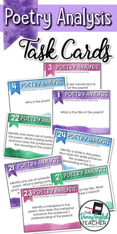 Poetry Analysis Task Cards Analyze poems in your classroom with these poetry analysis task cards. Ideal for the middle school ELA and high school English classroom, these task cards work with any poem. Middle School Ela, Middle School English, Poetry Activities, 8th Grade Ela, Poetry Lessons, Poetry Unit, Teaching Poetry, Gymnasium, English Classroom