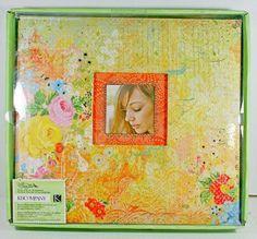 Classic K Que Sera Sera 12x12 Scrapbook Album Vibrant Orange Floral Hindi Gold…