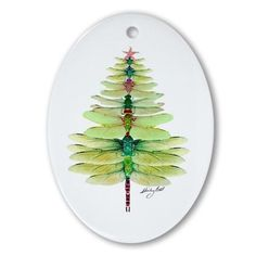 Dragonfly Oval Ornament on CafePress.com