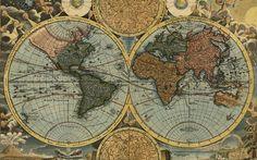 Lataa kuva vanha kartta maailman, kartografia, maantiede, Johann Baptist Homannin, 1716, retro kartta, matka-käsitteitä, Maapallon kartta