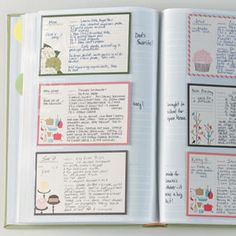 photo album recipe holder- LOVE THIS IDEA!  Then your recipes stay clean b/c they are protected.