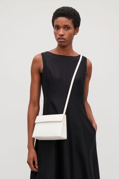 COS image 11 of Structured leather shoulder bag in White