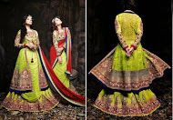Neon Green and Red Lehanga or Saree Style