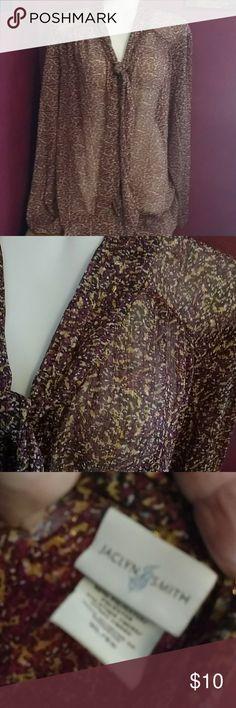 Jaclyn smith sz xl blouse Fabulous blouse in wine and orange w gold specks. Tie front. Suggest a tank underneath as semi sheer. Sz xl Jaclyn Smith Tops Blouses