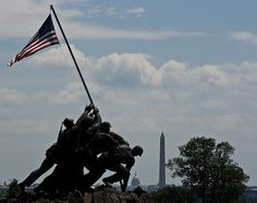 The U.S. Marine Corps Memorial with a view of the Washington Monument and the U. S. Capital