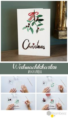 Making Christmas cards 4 creative craft instructions Weihnachten Christmas Place Cards, Christmas Greeting Cards, Christmas Art, Christmas Greetings, Christmas Design, Christmas Recipes, Hobbies And Crafts, Diy And Crafts, Natal Diy