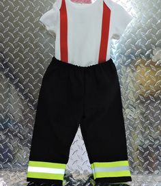Firefighter Baby Boy Outfit BLACK with RED by SimplySweetByB
