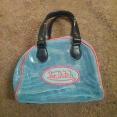 Pin Up Rockabilly Von Dutch purse Rave Ed Hardy I have two of these or I wouldn't be selling this.Never used blue Von Dutch net purse.This was Christian Audigiers first brand before Ed Hardy...very rare. Christian Audigier Bags Totes
