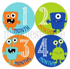 Monthly Baby Boy Stickers Milestone Stickers Baby by MaddiesMomE, $8.99 Think I like these better