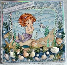 Whimsy Wee Goldie stamp - love the background and the seashells - bjl