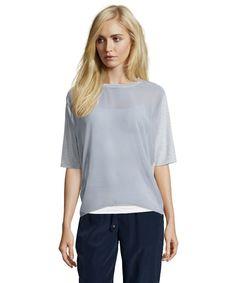 Cliche grey stretch cotton blend sheer short sleeve tee