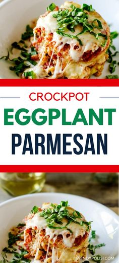 Tasty vegetarian meals don't get any better than this simple Crockpot Eggplant Parmesan.  This easy recipe takes a fraction of the time of traditional Eggplant Parmesan and still delivers all of the flavor.  Everyone loves this delicious recipe!  #vegetarian #slowcooker #slowcookereggplantparmesan #crockpot #slowcookervegetarian #easyrecipes #glutenfree Healthy Slow Cooker, Slow Cooker Recipes, Crockpot Recipes, Slow Cooker Eggplant, Tasty Vegetarian Recipes, Eggplant Parmesan, Easy Meals, Healthy Eating, Eating Healthy