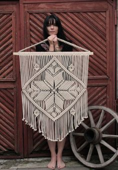 This beautiful macrame wall hanging is a variation on the theme of Motherhood that my customers loved so much. The center point is an eight-points star that stands for Mother love in my culture so I call it Unconditional Love. It is created with crossing of the straight cross (a