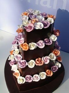 Dark chocolate heart wedding cake with sugar roses