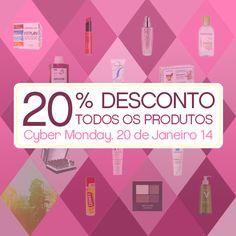 Todos os produtos com 20% de desconto, não percas, é a melhor segunda feira do mês!  Esta campanha é válida somente hoje, 20 de janeiro de 2014!  Aproveita!