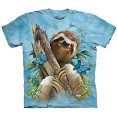 Three-Toed SLOTH & BUTTERFLIES T-Shirt The Mountain Funny Zoo Animal Mens S-5XL #sloth #sloths #christmas #graphictee