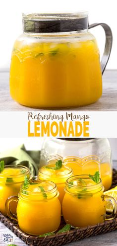 Refreshing Homemade Mango Lemonade Recipe (Naturally Sweetened) Refreshing Easy Mango Lemonade prepared using fresh zesty lemon juice honey & mango pulp.Healthy simple & naturally sweetened fresh lemonade recipe to enjoy summer. Drink Recipes Nonalcoholic, Summer Drink Recipes, Yummy Drinks, Healthy Drinks, Healthy Food, Alcoholic Drinks, Beverages, Mango Recipes Healthy, Fresh Juice Recipes