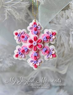 Handcrafted Polymer Clay Ornament by Kay Miller. Polymer Clay Ornaments, Fimo Clay, Polymer Clay Projects, Polymer Clay Art, Felt Ornaments, Biscuit, Polymer Clay Christmas, Play Clay, Clay Design