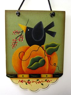 Pumpkin Crow Fall Sign Handpainted Home Decor by ToleTreasures
