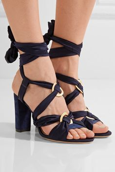Heel measures approximately 90mm/ 3.5 inches Storm-blue suede, midnight-blue satin Ties at ankle ImportedSmall to size. See Size & Fit notes.