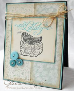 Beautiful card with our Little Darlings line and new stamps. Love the buttons! By @Gloria Stengel! #graphic45 #cards