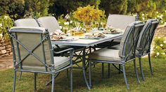Campaign 7-pc. Rectangular Dining Set with Glass-top Table
