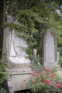 Highgate cemetary-love how the tombs are covered in moss and trees are starting to grow over...no one to take care of very old family tombs.