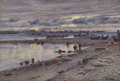 Ole Juul (1852-1927): Kystlandskap med folkeliv, Nordland