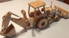 Model Wood Backhoe Tractor Ideal to use and by Woodpensforfriends