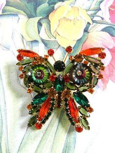 Breathtaking Massive Specialty Stone Rivolis Juliana Vintage Butterfly Brooch