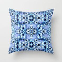 Bleu Fleur Throw Pillow by Sarah Saeed - $20.00