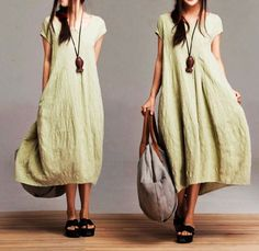 Comfort Linen Maxi Dress / Unique Summer green round by dreamyil