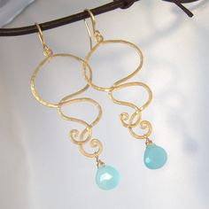 Tiffany Blue Chalcedony Swirl Earrings by MariCollection on Etsy, $30.00