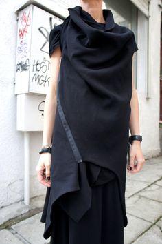 Spring Sleeveless Black Coat / Cotton Coat / by Aakasha on Etsy