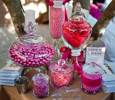 Candy bar fushia deco , rose deco table