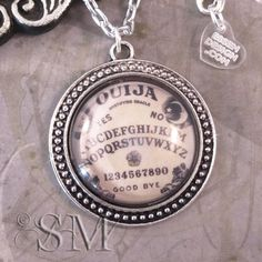Ouija Board - glass necklace, silver pendant, glass, circle, antique