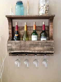 Reclaimed Wood Wine Rack. $75.00, via Etsy. WANT THIS!!!!