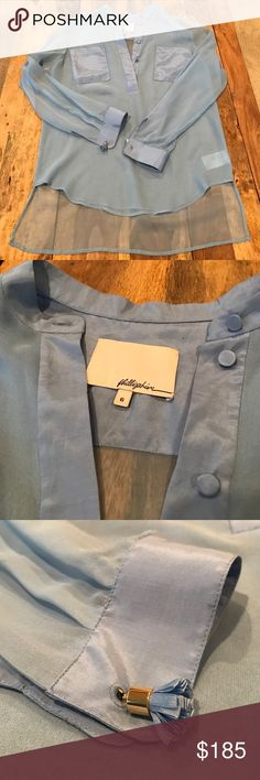 Gorgeous Baby Blue Silk Shirt with tassel cufflink Size 6 long transparent 3.1 Phillip Lim Tops Blouses