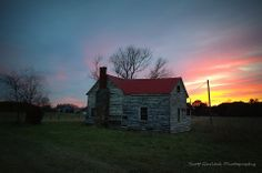 """Fading with Time"" The fading evening sun has set once again on an abandoned red roofed Warren County farm house and its faded yellow paint. (2014) Scott Garlock Photography"