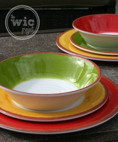 Check out the new 18 piece Melamine Dinnerware Set from BJ's Wholesale Club. Bright, vibrant & durable - they're perfect for outdoor entertaining! Melamine Dinnerware Sets, Tableware, Bj's Wholesale, Outdoor Dinnerware, Travel Trailer Camping, Kitchen Things, Outdoor Entertaining, Tables, House Ideas