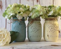 3 PINT Size Painted MASON JARS. Sea Blue. Sea Green. Pale Yellow.Vintage.French Country.Rustic-Wedding Centerpiece.Shabby Chic.Summer Decor