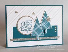 Stamping Up 'Lots of Joy'. Judy May, Just Judy Designs Christmas Paper Crafts, Homemade Christmas Cards, Christmas Tree Cards, Stampin Up Christmas, Christmas Settings, Noel Christmas, Xmas Cards, Homemade Cards, Handmade Christmas