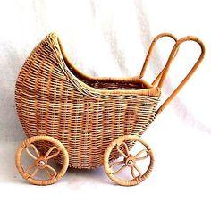 "Vintage Wicker Baby Doll Carriage Buggy Stroller Doll Decor 16"" x 14"" x 11""  EUC"