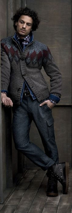 Cashmere & Wool Tweeded Intarsia Cardigan, Denim Jacket, Plaid Shirt, & Gray Flannel Cargo Pants, by Brunello Cucinelli FW2013. Men's Fall Winter Fashion.